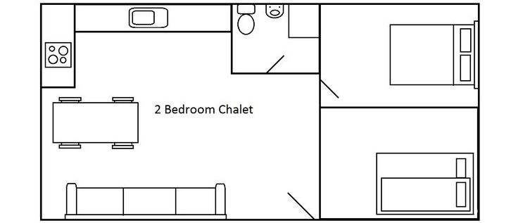 2 Bedroom chalet floor plans